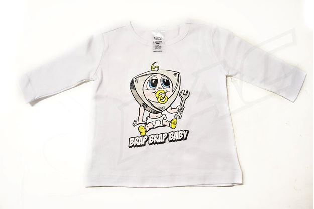 Picture of BABIES WHITE LONG SLEEVE SHIRT 'BRAP BRAP BABY'