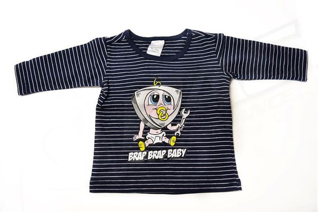 Picture of BABIES NAVY STRIPED LONG SLEEVE SHIRT 'BRAP BRAP BABY'