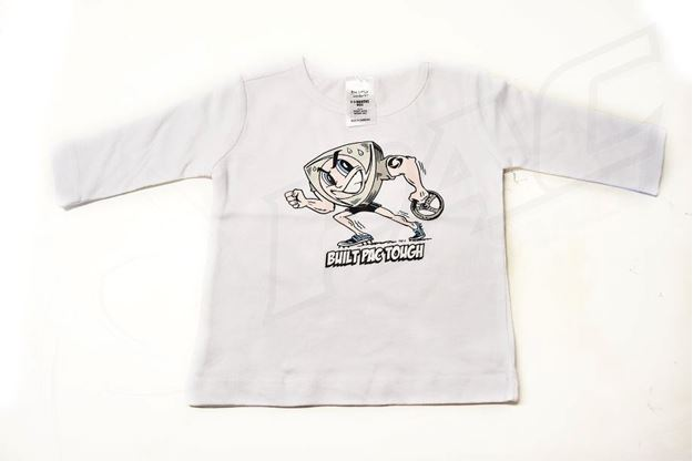 Picture of BABIES WHITE LONG SLEEVE SHIRT 'BUILT PAC TOUGH'