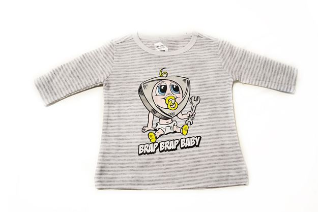 Picture of BABIES GREY STRIPED LONG SLEEVE SHIRT 'BRAP BRAP BABY'