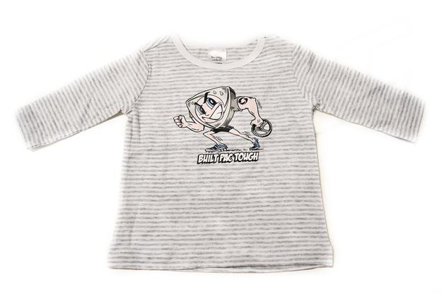 Picture of BABIES GREY STRIPED LONG SLEEVE SHIRT 'BUILT PAC TOUGH'