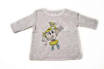 Picture of BABIES GREY STRIPED LONG SLEEVE SHIRT 'PAC GIRL'